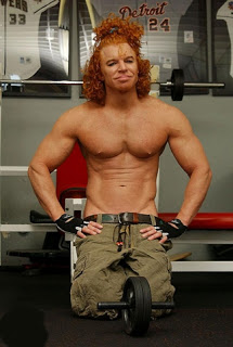 creepy Carrot Top with shirt off muscles
