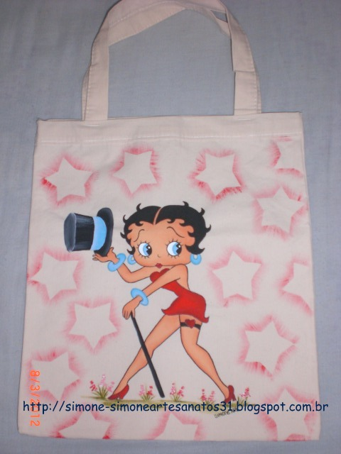 Bolsa De Tecido Cru : Simone artesanatos bolsa de tecido cru betty boop