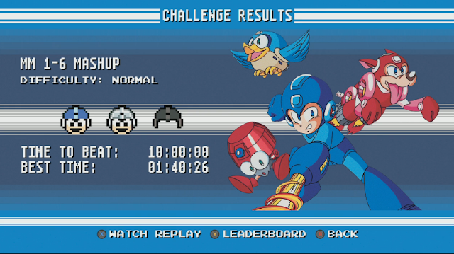 Mega Man Legacy Collection challenge mode results screen mashup