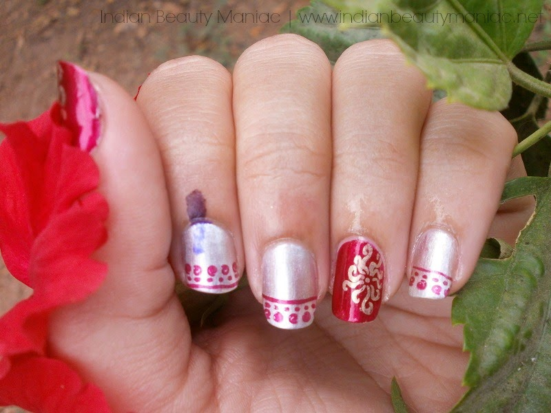 Metallic Nail Stamping with Orly After Sex, Maybelline color show nail paints in Bold Gold and Silver Lining