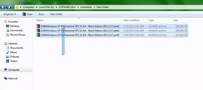 Contoh cara Extract Win XP Pro SP3 32 Bit Black Edition 17 Maret 2013