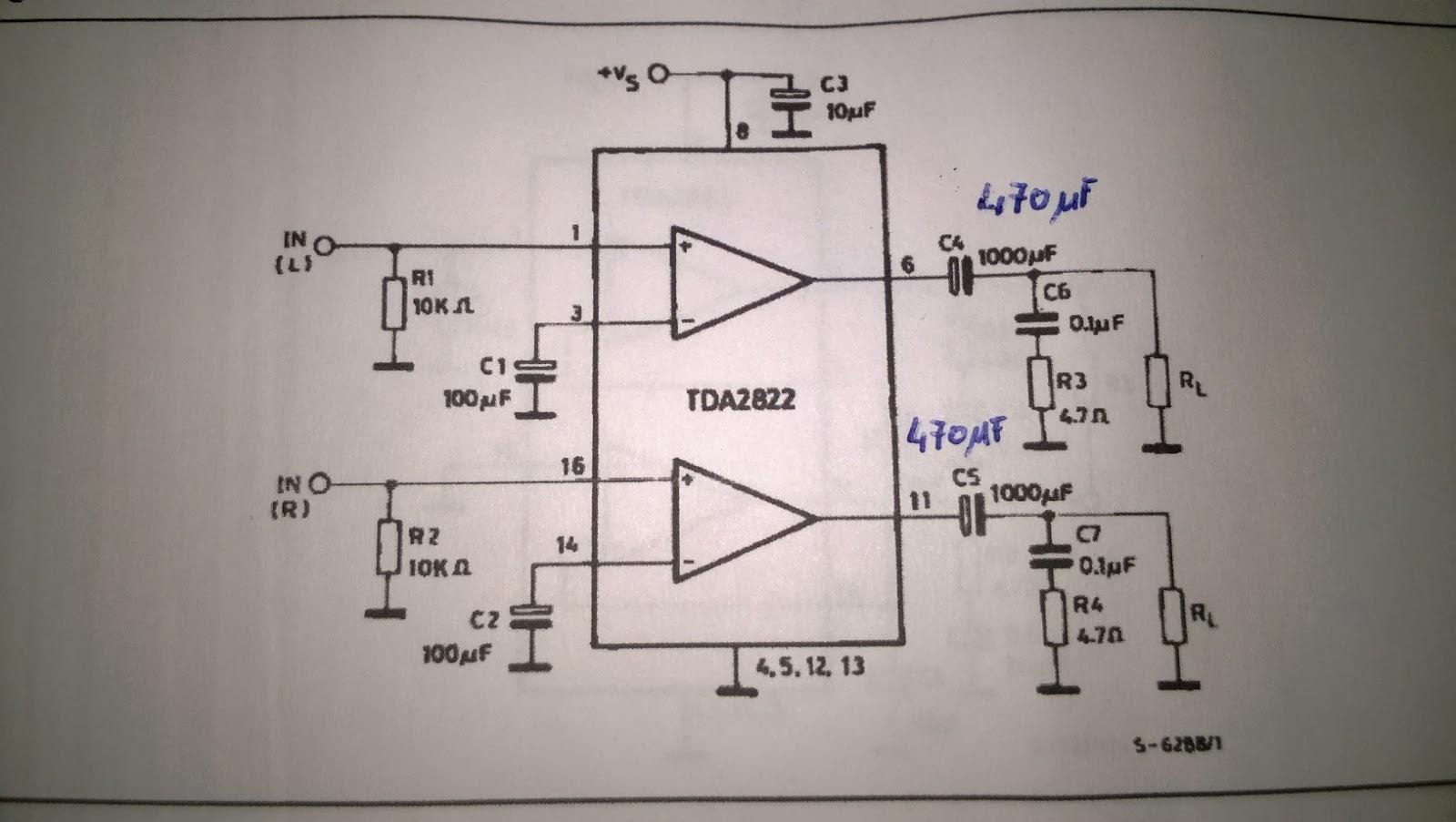 Schemi Elettrici - Amplificatore per Cuffie con TDA2822.