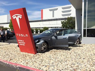 Tesla Model S Crash Fremont Factory