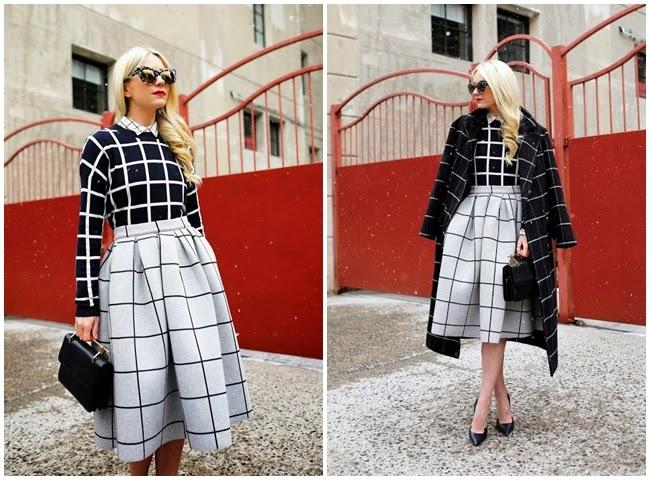 Topshop 2015 Pre-Spring Grid Print Bonded Midi Skirt