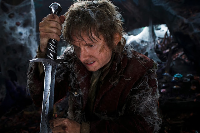 Baggins with sword in The Hobbit: The Desolation of Smaug movie still image picture photo