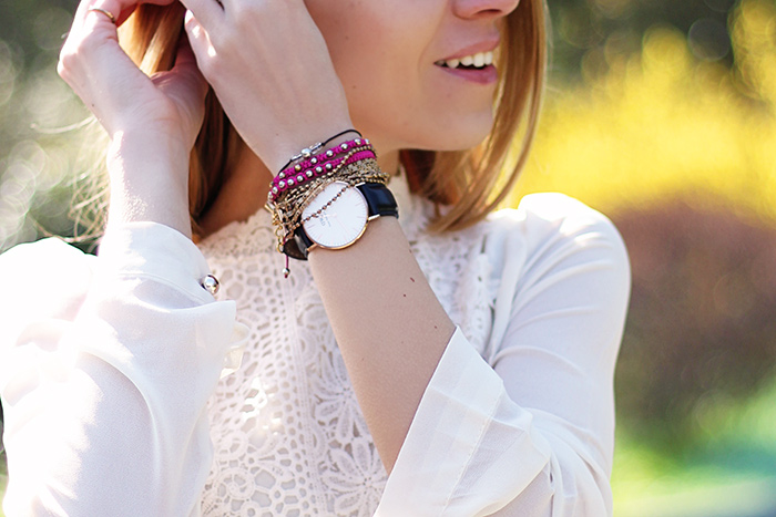 romantic white lace shirt, daniel wellington watch, spring outfit