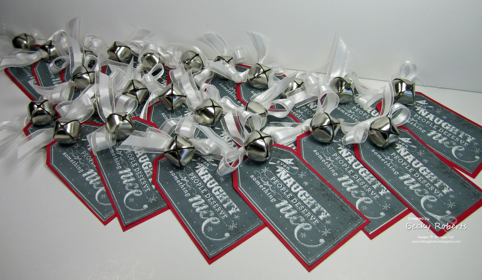 I Printed The Tags And Cut Them Out Mounted On Real Red Cardstock Added 5 8 Whisper White Organza Ribbon A Jingle Bell