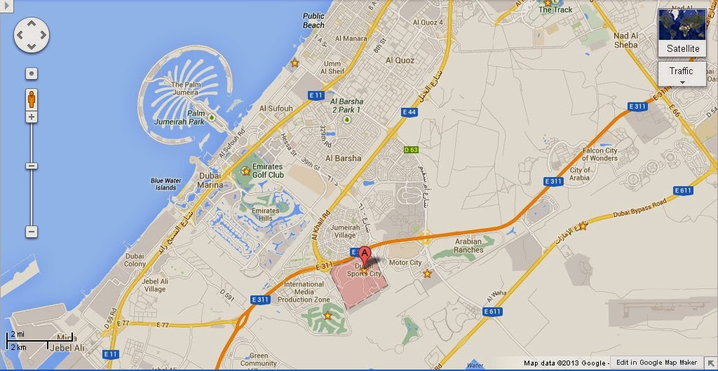Detail Dubai Sports City Location Map