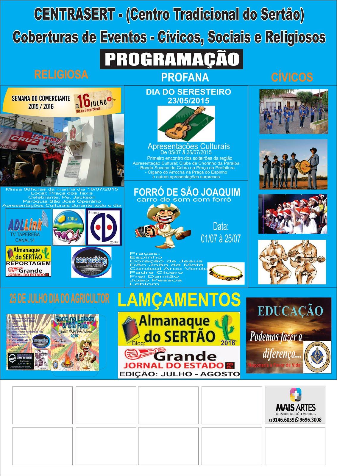 PROGRAMAÇÃO  PROFANA  RELICIOSA  E CÍVICA  PARA A SEMANA DO COMERCIANTE ANO 2015