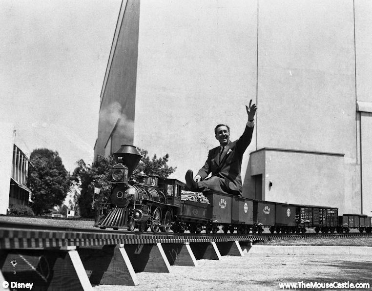 Walt Disney riding the Carolwood Pacific, 1951