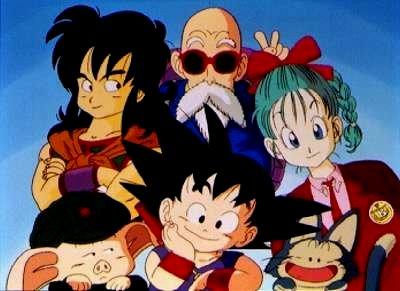 Original Dragon Ball Anime Series Characters Yamcha, Master Roshi, Bulma, Oolong, Goku, and Puar