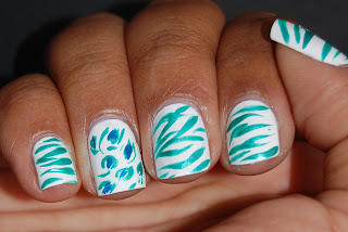 colorful zebra nails