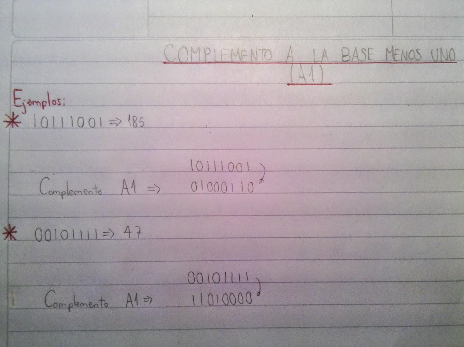 Números Negativos, Complemento, A1