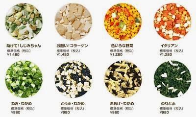 vegetais desidratados e frutos do mar