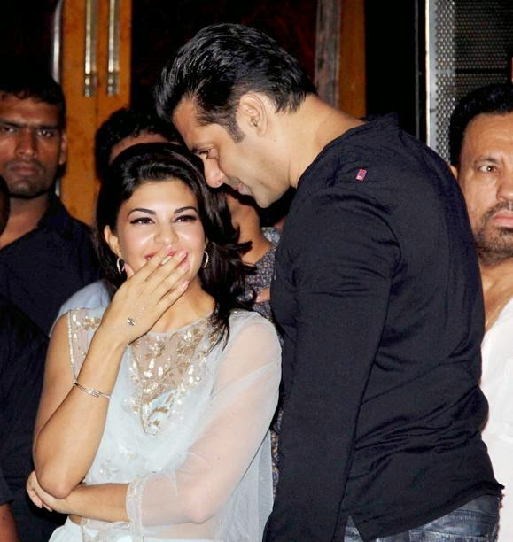 Salman khan and Jacqueline Fernandes during launch kick