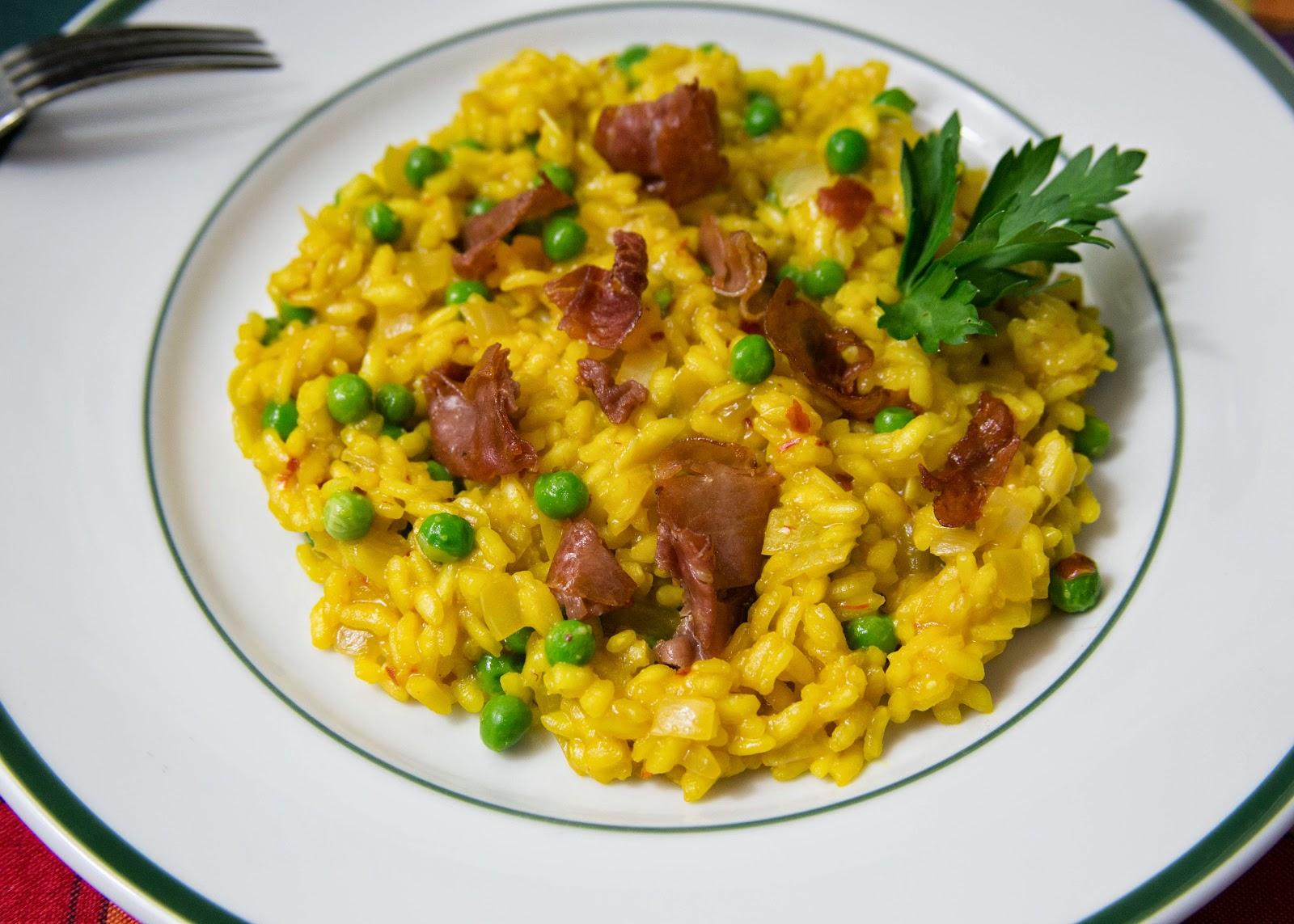 Saffron Risotto with Prosciutto and Peas