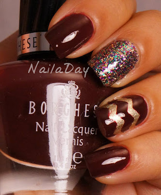 NailaDay: Borghese Sonata Berry with skittle accents