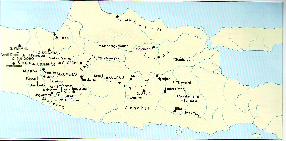 Peta daerah kekuasaan Kerajaan Mataram-Hindu.