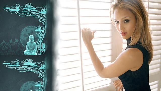 Jessica Alba near Window