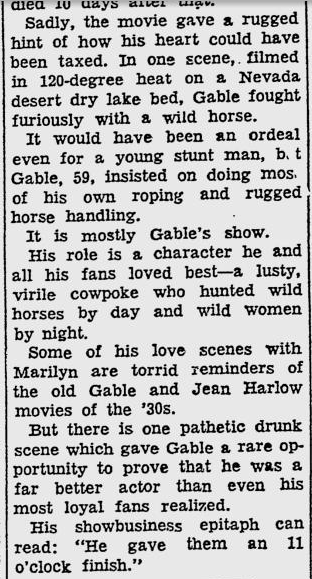 Newspaper article, 1961 review The Misfits pt.2
