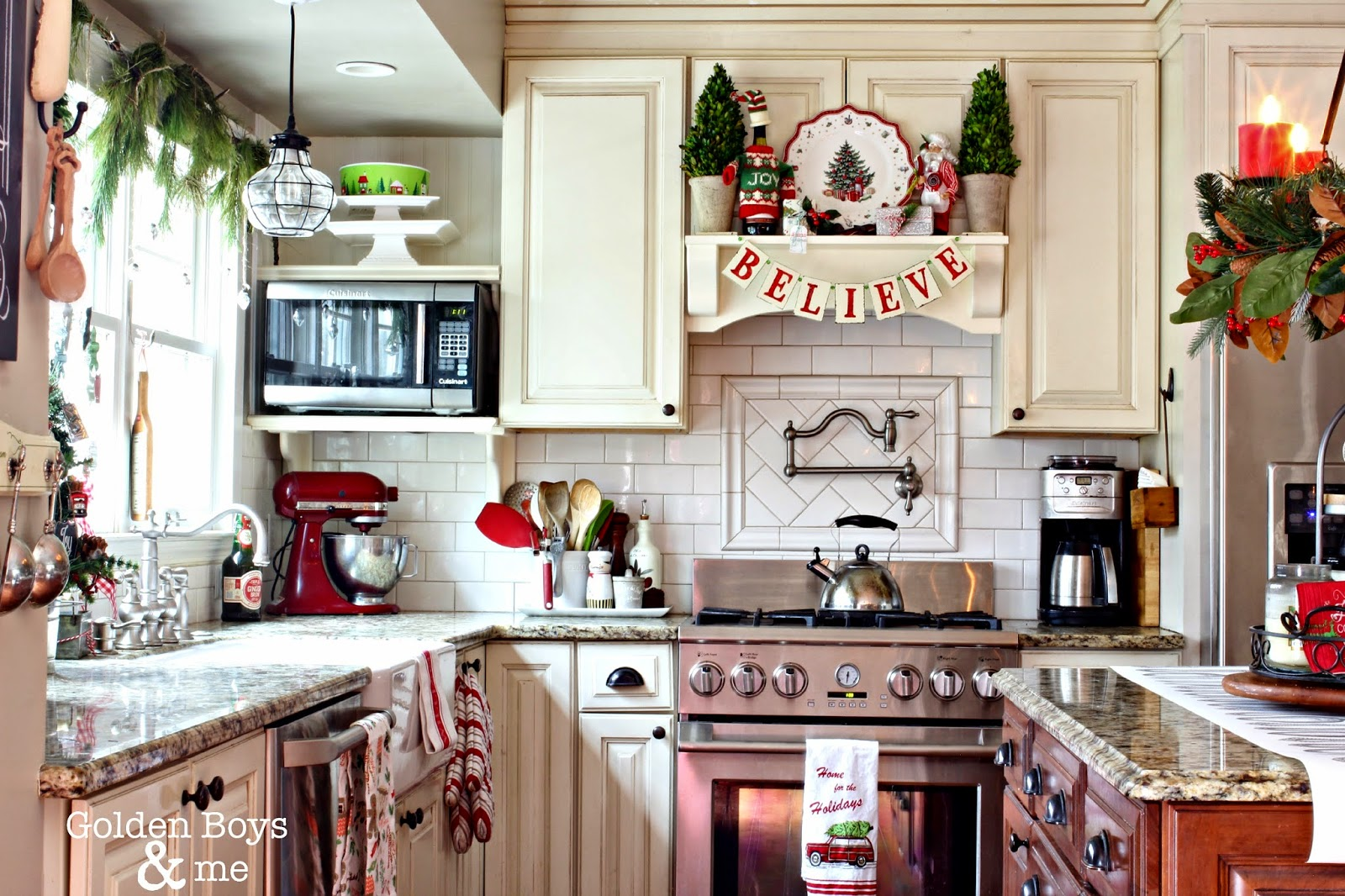 DIY white kitchen with Christmas decor-www.goldenboysandme.com