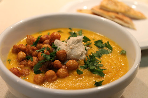 ... Carrot Soup with Tahini and Crisped Chickpeas was too beautiful to