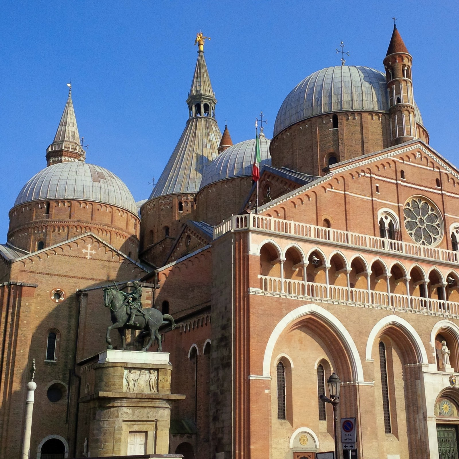 St. Anthony's Basilica in Padua with a statue by Donatello in front of it