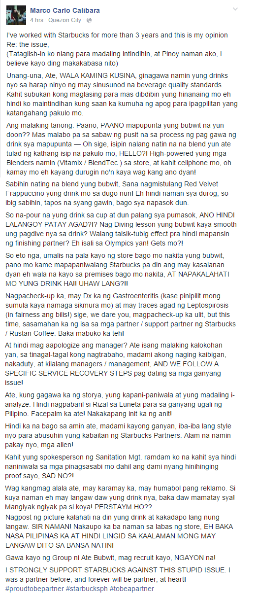 Starbucks Issue FB post