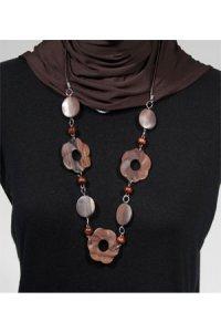 Kalung Flower - Coklat (Toko Jilbab dan Busana Muslimah Terbaru)
