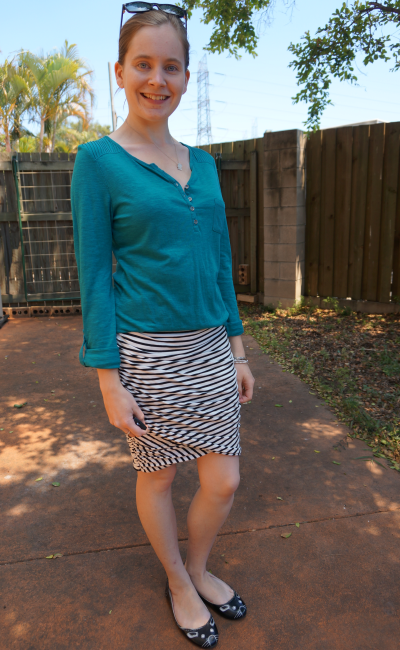 Jeanswest teal henley shirt french connection striped gathered pencil skirt