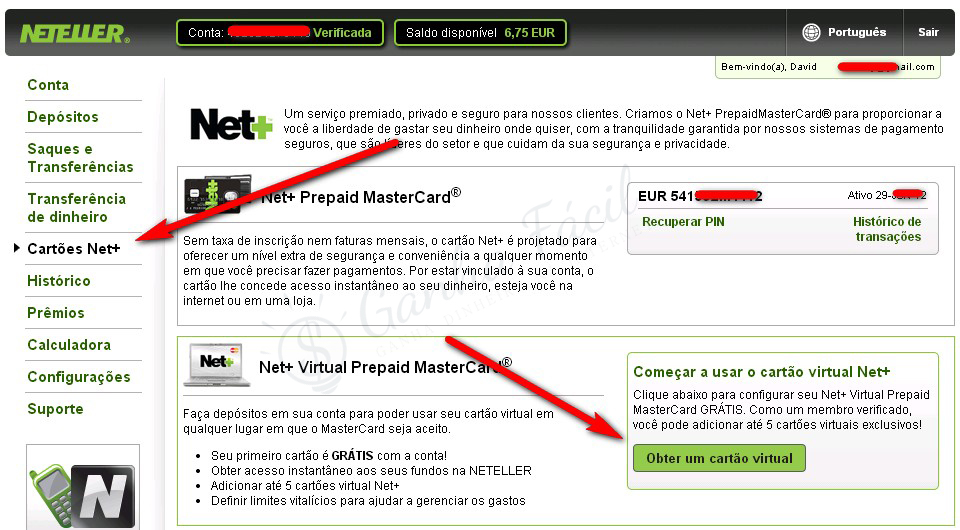neteller net+ cartão virtual vcc create card