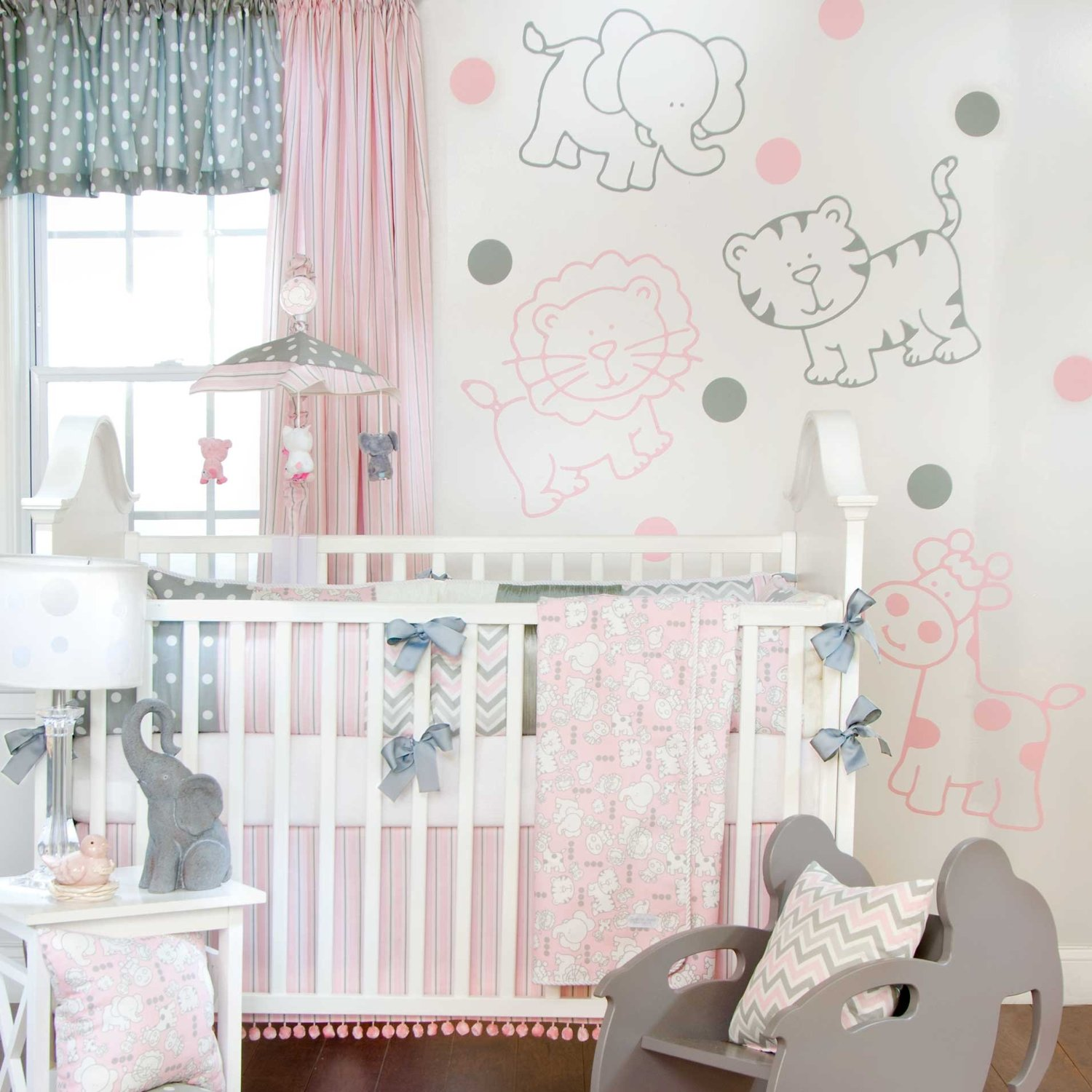 Pink And Grey Crib Bedding Sets For Baby Girls 39 Nursery