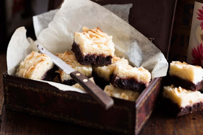 Black bottomed raspberry coconut slice Recipe