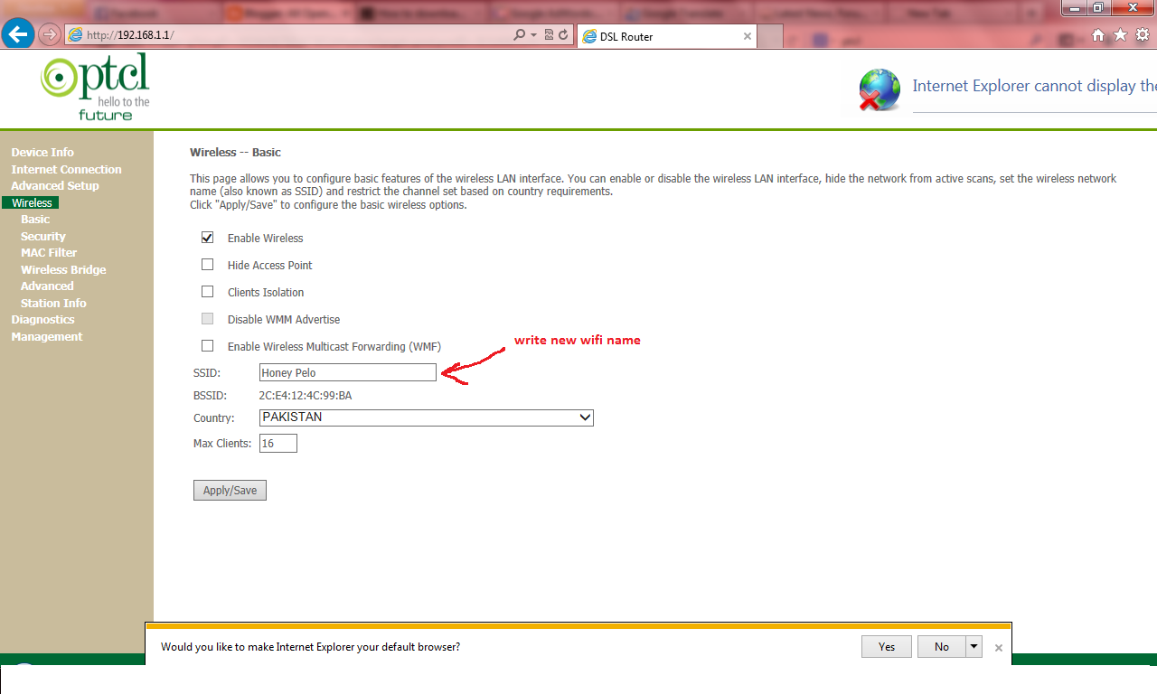 how to change ptcl wifi admin password