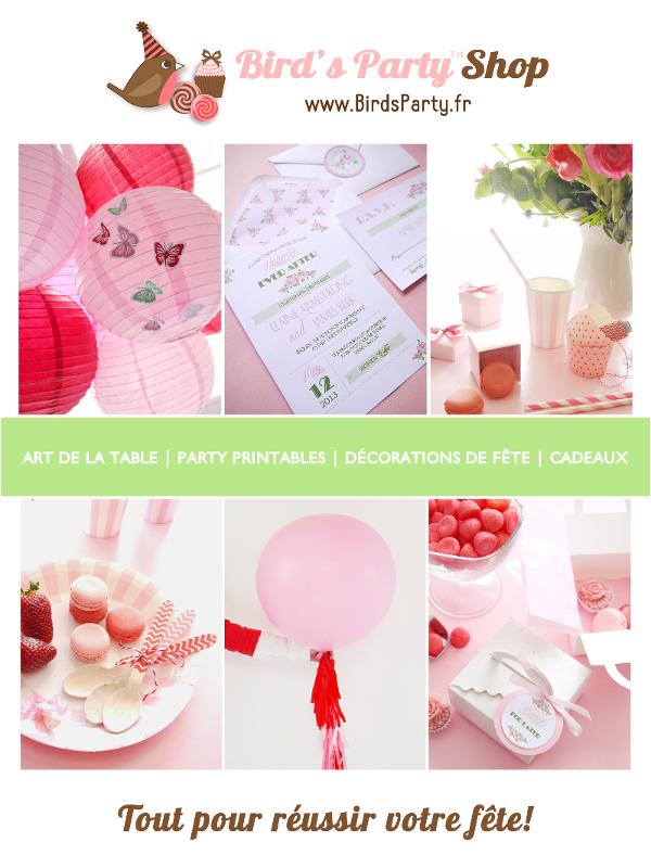 Article de Fête, Art de la Table, Cadeaux, Décorations Anniversaire, Mariage, Sweet Tables et Party Printables