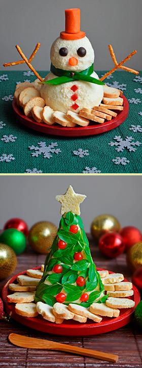 Um boneco de neve e uma árvore de Natal comestível
