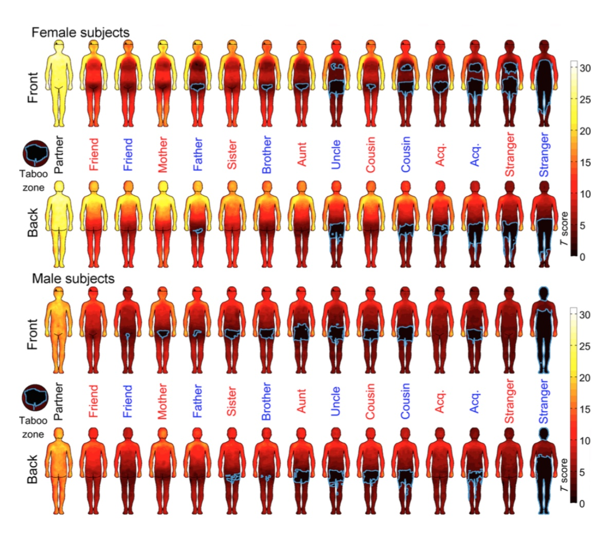 Body map of awkwardness of physical contact