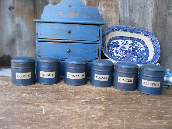 Cupboard Blue Spice Tins