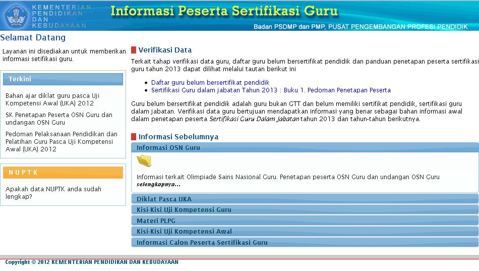 Fitur Lainnya dari website resmi Sertifikasi Guru 2013