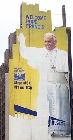 Papa Francisco up against the wall in NYC.