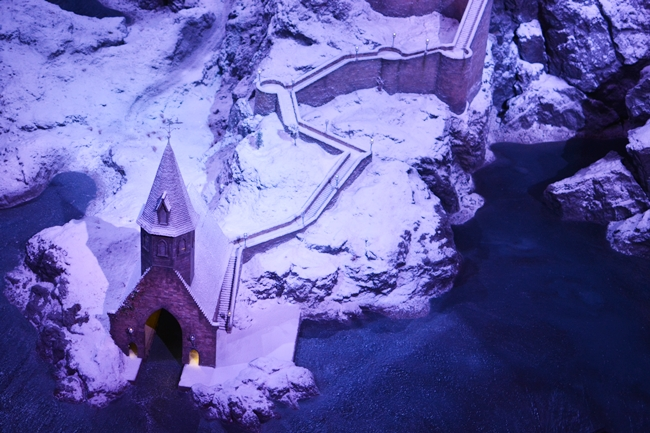 Miniature Model of Hogwarts Castle covered in snow