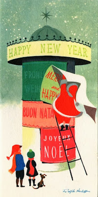 father christmas wishing joyeux noel illustration  by Ralph Hulett