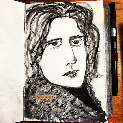 Oscar Wilde ink drawing