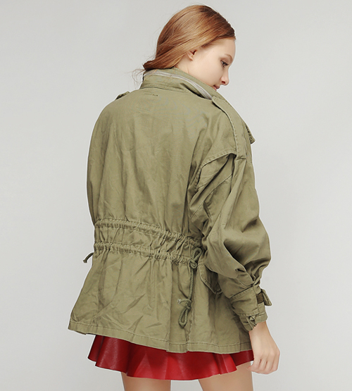 Oversized Shirring Cargo Jacket