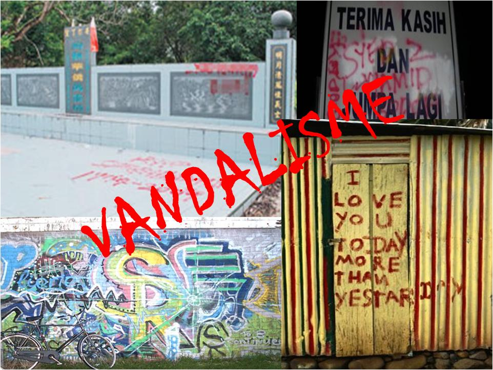 Gambar di bawah menunjukkan perbuatan vandalisme. Tulis sebuah