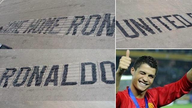 صورة لرونالدو في اليونايتد وبجانبها صور للشعار الذي ستحملة طائرة المطالبة بعودة رونالدو