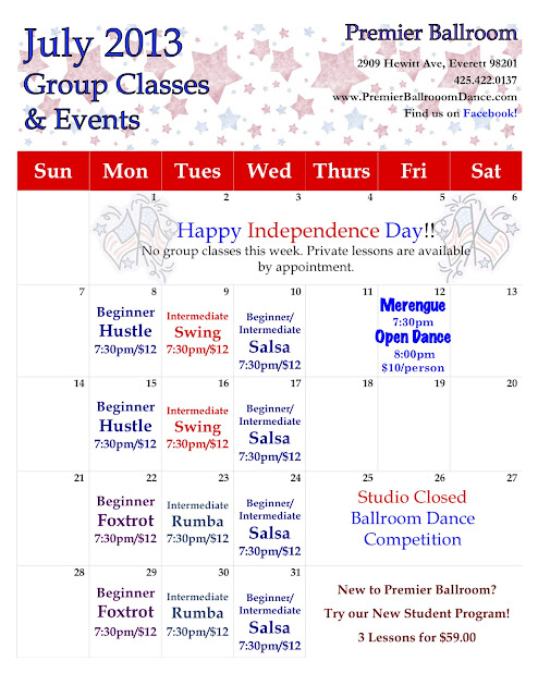 Premier Ballroom Dance Everett Group Class Calendar
