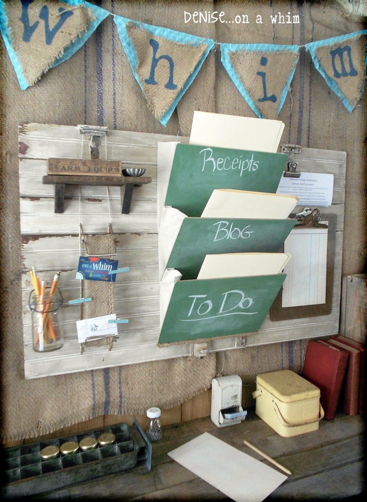Junky Wall Organizer via http://deniseonawhim.blogspot.com
