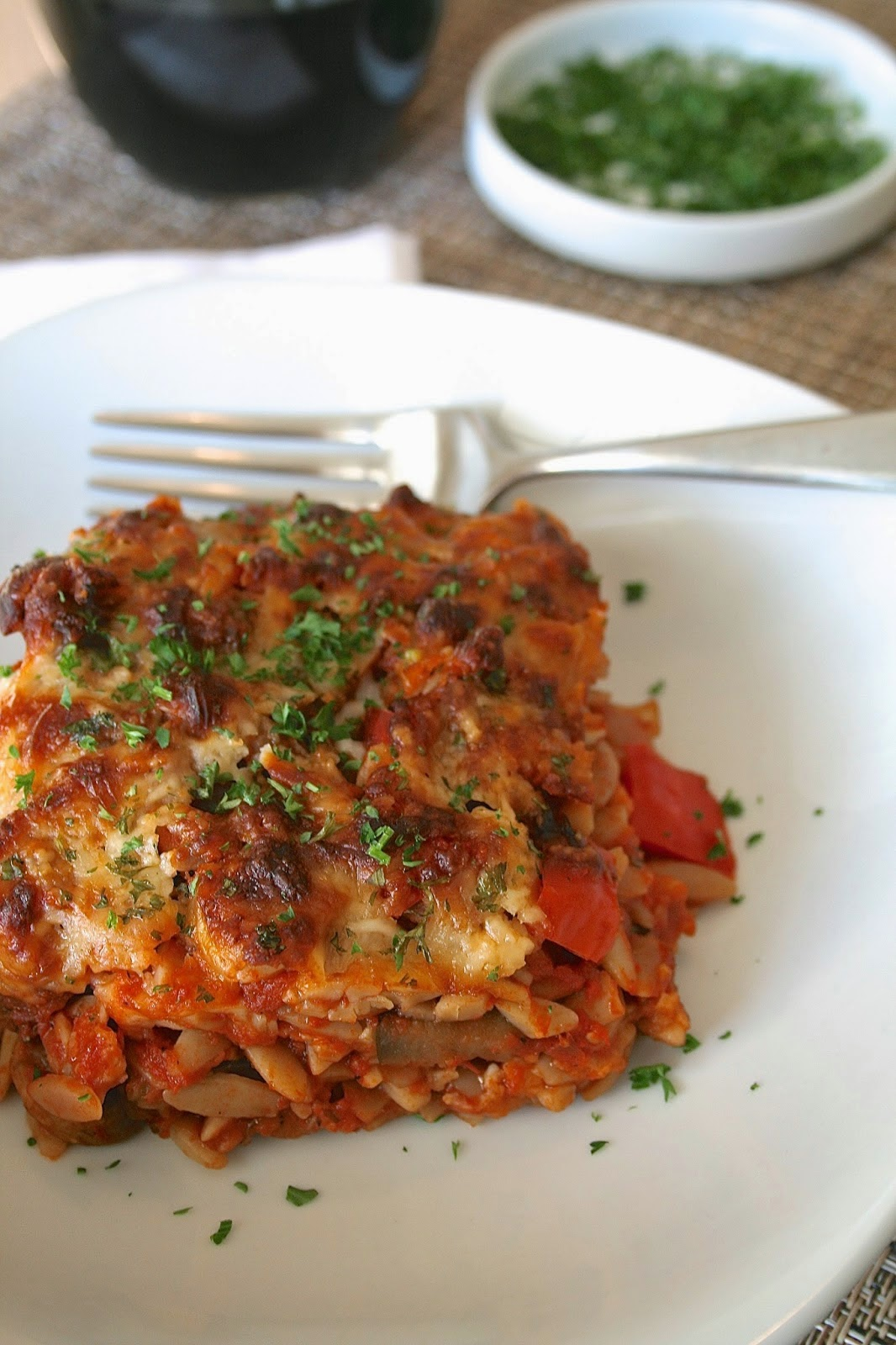 Cheesy Eggplant and Orzo Casserole
