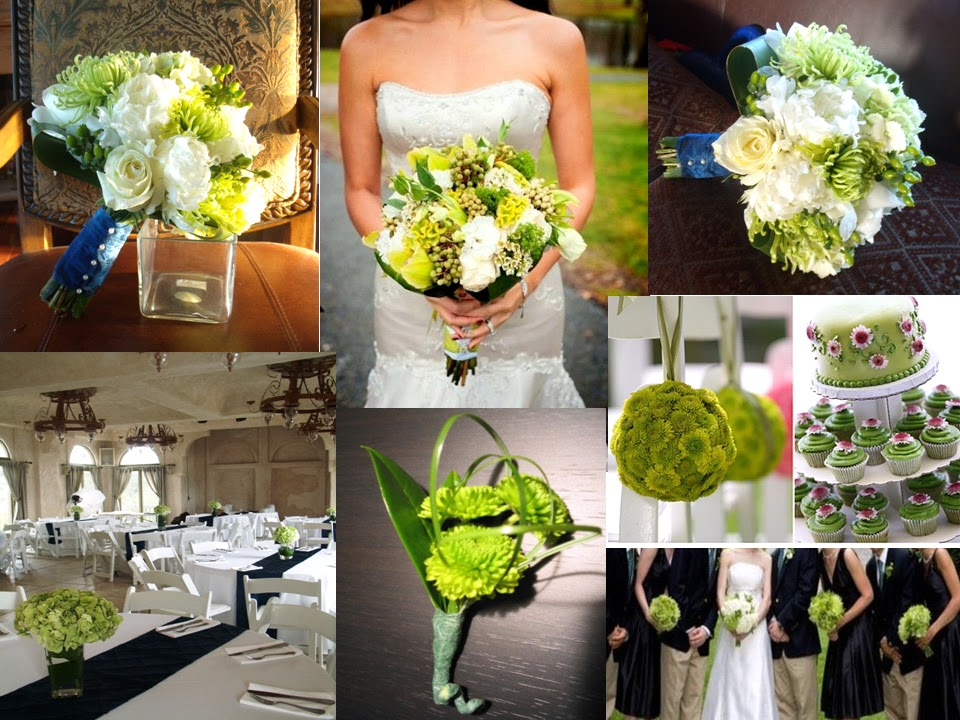 fresh flowers and a gorgeous apple green wedding theme color